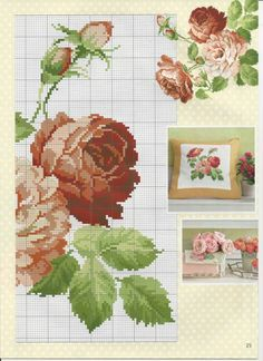 This Pin was discovered by Gay Cross Stitch Pillow, Cute Cross Stitch, Cross Stitch Rose, Cross Stitch Flowers, Cross Stitch Charts, Cross Stitch Designs, Cross Stitch Patterns, Rose Embroidery, Cross Stitch Embroidery