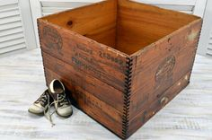 Large Wooden Shoe Crate - wood shipping box - Boston Rubber Shoe Co. Wooden Crate Boxes, Wood Crates, Shipping Crates, Time Shop, Rubber Shoes, Antique Items, Vintage Wood, Coffee Shop, Storage Chest