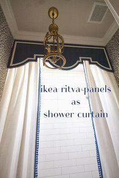 adding trim to ikea panels (custom shower curtain project)