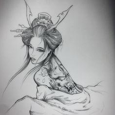 #rdt #reddemon #reddemontattoos #geisha #girl #hanya #mask #tattoo #tattoos #art