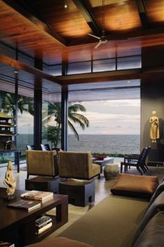 Tropical Design Modern Ocean House Architecture Ideas - Living Room