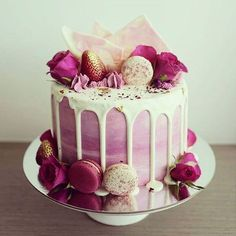 Pink heather & lilac hued rose, chocolate marble bark & macaron drip cake by Bake You Smile. Bolo Macaron, Macaroon Cake, Beautiful Birthday Cakes, Beautiful Cakes, Amazing Cakes, Elegant Birthday Cakes, Pretty Cakes, Cute Cakes, Bolos Pool Party