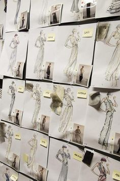 Figurines de moda del Atelier de Armani. Utilizando el mismo figurín para diseñar distintos vestidos. http://www.figurinesdemoda.com #Armani #figurines #moda