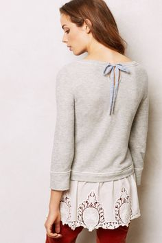 Anthropologie Lace Skirt Sweatshirt in Gray (GREY)