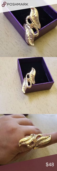 18k leaf ring brand new never used. 18k gold plated leaf ring size 9 come with a nice box Chupchick Jewelry Rings