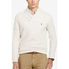 Polo Ralph Lauren Men's Ribbed Shawl Pullover ($60) ❤ liked on Polyvore featuring men's fashion, men's clothing, men's sweaters, faded cream, mens cream sweater, mens ribbed sweater, polo ralph lauren mens sweater, mens sweaters and mens cotton sweaters