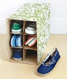 Wine box as shoe storage--easy way to repurpose!