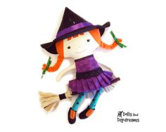 Witch Cloth Doll pdf Sewing Pattern Cute by DollsAndDaydreams. $12.99, via Etsy.