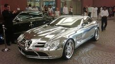 Pure White Gold Mercedes Benz    Owned by oil billionaire Abu Dhabi, The car is made using 18k white gold and has stunning features such as the newly developed V10 quad turbo with 1,600 horsepower and 2800nm of torque 0-100km/h in less than 2seconds, 1/4 mile in 6.89 seconds running on bio fuel.    (NOT stainless steel, it is PURE white gold)