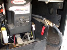 The RV generator fuel shutoff valve. photo by Curtis at TheFunTimesGuide.com