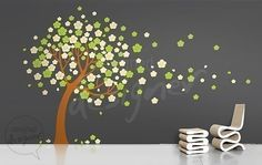 Wall Decal Blossom Tree Wall Decal living room by DesignedDesigner Nursery Wall Stickers, Vinyl Wall Stickers, Lime Green Rooms, Blossom Trees, Cherry Blossom, Dining Room Walls, Living Room, Tree Decals, Wall Murals