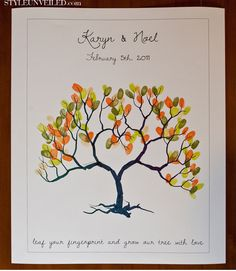 Style Unveiled - Wedding Fingerprint Tree - Alternative Guest Book or a cute family tree project Tree Wedding, Wedding Guest Book, Wedding Blog, Our Wedding, Wedding Reception, Wedding Fingerprint Tree, Fingerprint Art, Guest Book Tree, Guest Books