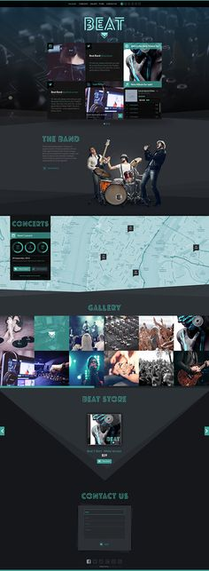 Beat - One-Page Music & Band Template by WiselyThemes Music Websites, Band Website, Web Design, Graphic Design, Website Maintenance, Search Engine Marketing, Location Map, Search Engine Optimization, Music Bands