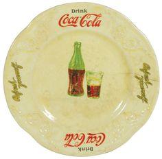 "Coca-Cola sandwich plate, ""Drink Coca-Cola Refresh Yourself"" w/bottle & glass in center, E.M. Knowles China Co, c.1931"