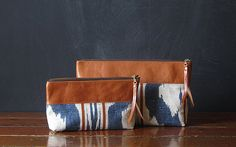 the OVERSIZED zipper pouch ooak vintage ikat and eco by Beesnetta