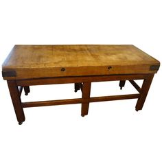 Butcher Block Table | From a unique collection of antique and modern industrial and work tables at https://www.1stdibs.com/furniture/tables/industrial-work-tables/