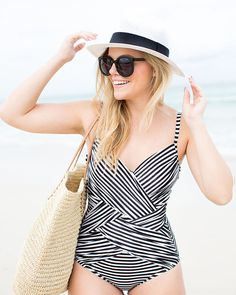 We've never been  more ready for the beach, and thanks to Kristin of Living in Color Print, she has us wanting to play hooky from work and head straight to the ocean! We can't get enough of this adorable striped one piece swimsuit she's rocking seaside and can't wait to snag one for ourself this season! 3/30/16
