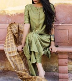 Green Silk Gota Work Salwar Kameez With Dupatta