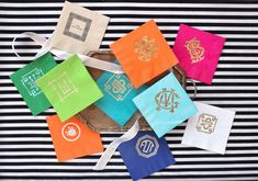 Personalized napkins or matchbooks for your house - these paper cocktail napkins are by Emily McCarthy and are $35 for 50.
