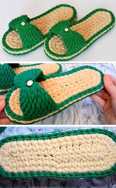 Knit Slippers Free Pattern, Crochet Slipper Pattern, Knitted Slippers, Crochet Patterns, Crochet T Shirts, Crochet Gifts, Crochet Yarn, Free Crochet, Crochet Flip Flops