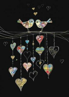 Bug Art - Bird Hearts - designed by Jane Crowther Art Fantaisiste, Bug Art, Applique Quilts, Applique Cushions, Wool Applique, Wire Art, Heart Art, Whimsical Art, Fabric Art