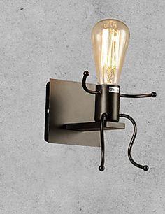 Ministil+Væg+Lamper,Rustik/hytte+E26/E27+Metal+–+DKK+kr.+626