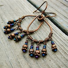 Antiqued Copper Wire Wrapped Hoops with by BearRunOriginals, $18.00