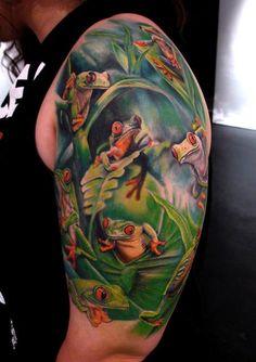 frog tattoo sleeves | ... Tattoo Gathering : Tattoos : Nature Tree : Tree Frogs half Sleeve