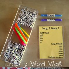 Daily 5: Word Work Idea!! Use letter beads on pipe cleaners to make words!...love this idea for sight words too.