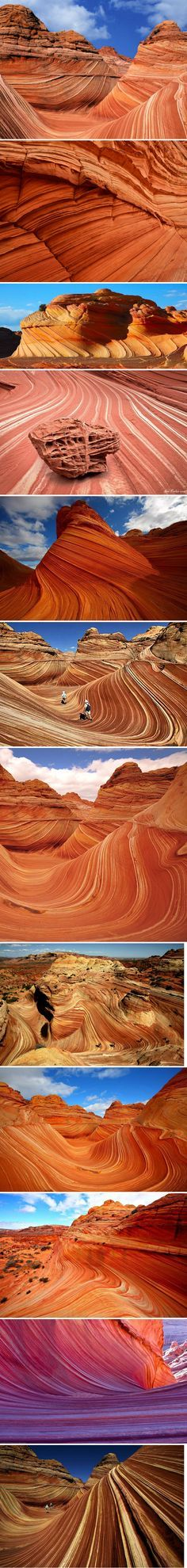 *ARIZONA~The Wave is a sandstone rock formation located in the United States of America near the Arizona and Utah border on the slopes of the Coyote Buttes, in the Paria Canyon-Vermilion Cliffs Wilderness, on the Colorado Plateau. It is famous among hikers and photographers for its colorful, undulating forms, and the rugged, trackless hike required to reach it.
