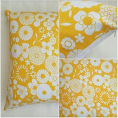Sunny yellow vintage retro fabric cushion cover