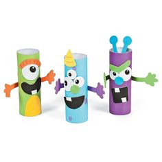 Monster Treat Holder Craft Kit, Novelty Crafts, Crafts for Kids, Craft Hobby Supplies - Oriental Trading Toilet Roll Craft, Toilet Paper Roll Crafts, Projects For Kids, Diy For Kids, Craft Projects, Monster Birthday Parties, Monster Party, Monster Treats, Paper Towel Crafts