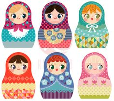 Cute Matryoshka on Behance by Kat Uno