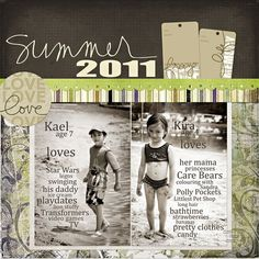 Summer Page...love the script journaling on the pictures.