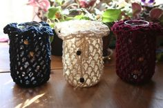 Crochet Mason Jar Luminary Cover Cozy Wedding Table Picnic Candle Dark Red Quart via Etsy