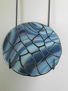 Blue Swirled Black Fused Glass Plate | eBay