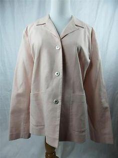 Eileen Fisher Women's Pale Pink Blazer Jacket Large Snap Buttons Textured | eBay