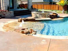pools images | Natural Swimming Pool With Water Slide & Waterfall - Southlake, Texas