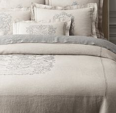For the guest room:  RH's Wentworth Crest Vintage-Washed Belgian Linen Duvet Cover:Woven of fine Belgian flax, our bedding is embellished with the intricate 18th-century crest motif of Charles Watson-Wentworth, the second marquis of Rockingham. A special washing process brings out the linen's natural softness and weathers the grey crest print, creating an elegant heirloom quality.