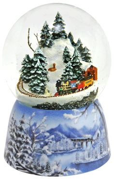 Mountain Train Christmas musical Snowdome from snowdomes.com Christmas Tunes, Christmas Snow Globes, Christmas Train, Christmas Wishes, Christmas Colors, Christmas Holidays, Christmas Crafts, Snow Globe Kit, Diy Snow Globe