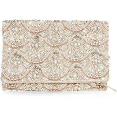 Accessorize Arial Foldover Clutch Bag (€54) ❤ liked on Polyvore featuring bags, handbags, clutches, beaded handbag, party handbags, foldover purse, party clutches and beaded clutches
