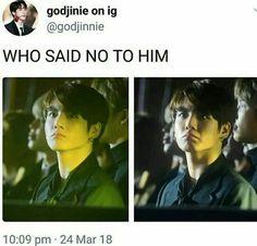 ❤ Jungkook BTS how dare some one say say no to my darlin Bts Namjoon, Kookie Bts, Jungkook Abs, Jung Hoseok, Taehyung, Jikook, Bts Memes Hilarious, Bts Funny Videos, K Pop
