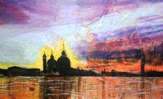 ARIA & VENTO all tramonto in laguna olio su polistirene estruso lavorato a fuoco vivo con fondo e finissaggio a spatola serigrafica 125x60