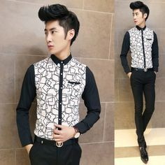 104d26db7 2014 Spring Autumn Fashion Long-sleeve Slim Men Shirts Irregular Print  Fancy Stylish Shirts Wholesale