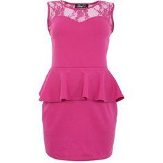 Agenda Pink Lace Panel Peplum Dress ($26) ❤ liked on Polyvore