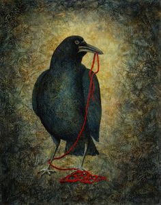Curious Corvus IV Print of Original Acrylic Painting by SandyTweed