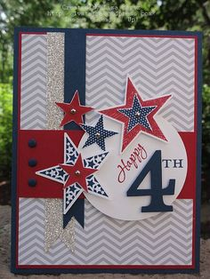 handmade 4th of July card ... red, white, blue & gray ... like the addition of silver glitter paper as one of the fishtail pennants ... crisp stars with silver  brads ... base layer of pale gray and white skinny chevrons  patterned paper ... like all of the fundetails ... Stampin' Up!