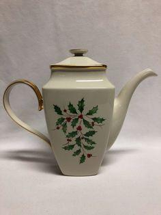 "Lenox China Holiday Dimension Square Coffee Pot 9"" #Lenox Christmas China, Lenox China, Tea Pots, Dishes, Coffee, Tableware, Holiday, Kaffee, Dinnerware"