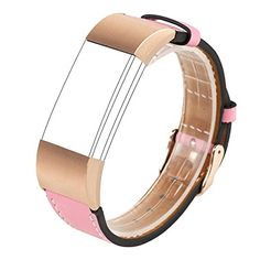 Wearlizer Replacement Leather Strap for Fitbit Charge 2   Pink Rose Gold Buckle  Small  * BEST VALUE BUY on Amazon
