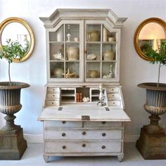 PERIOD GUSTAVIAN SECRETAIRE WITH VITRINE CABINET in DECORATIVE ANTIQUES from Georgia Lacey